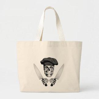 Chef Skull with Chef Knives Jumbo Tote Bag