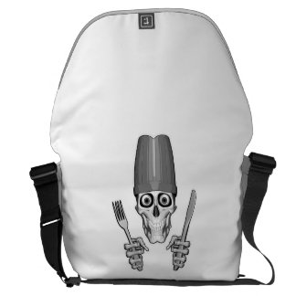 Chef Skull with Chef Knives Messenger Bags