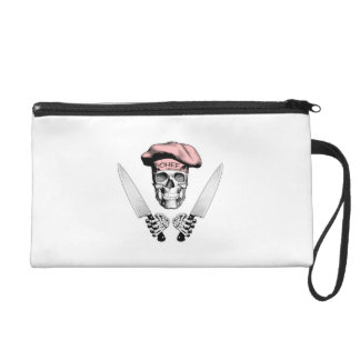 Chef Skull with Chef Knives Wristlet Clutch