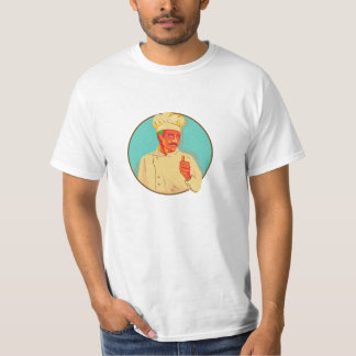 Chef With Mustache Thumbs Up Circle WPA T-Shirt