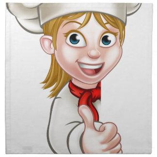 Chef Woman Cartoon Cook Napkin