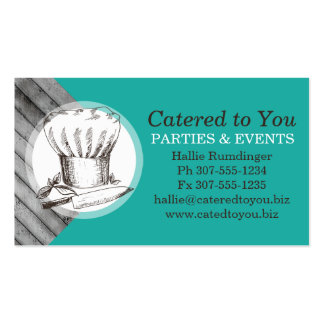 Chefs hat knife herbs catering culinary pack of standard business cards