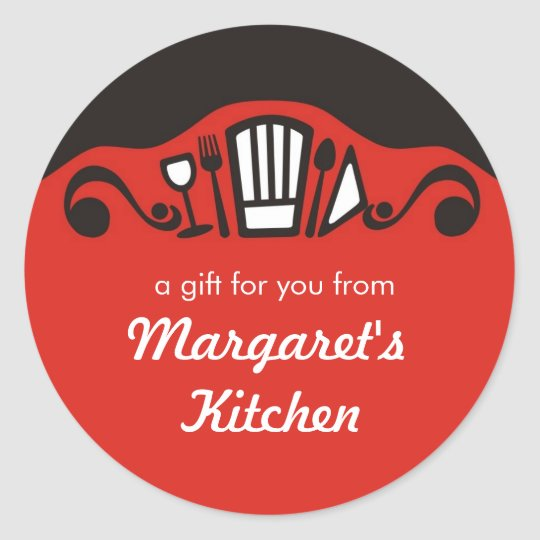 Chef's hat utensils wine gift tag kitchen stickers