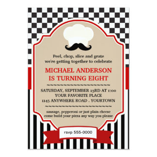 Chefs Hat with Moustache Pizza Party Invite
