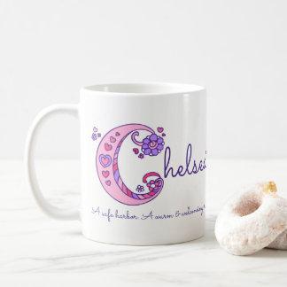 Chelsea name meaning decorative C monogram mug