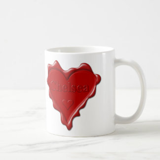 Chelsea. Red heart wax seal with name Chelsea Coffee Mug