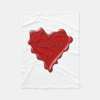Chelsea. Red heart wax seal with name Chelsea Fleece Blanket