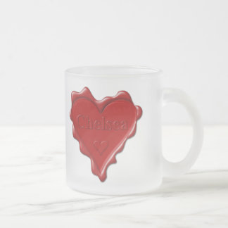 Chelsea. Red heart wax seal with name Chelsea Frosted Glass Coffee Mug