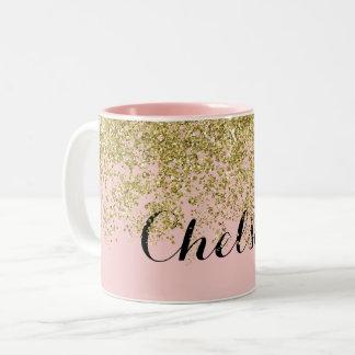 Chelsea Rose Quartz Glam Two-Tone Coffee Mug