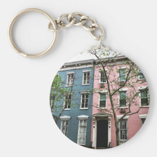 Chelsea Townhouses, NYC Basic Round Button Key Ring