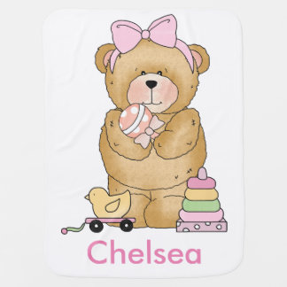 Chelsea's Teddy Bear Personalized Gifts Swaddle Blankets