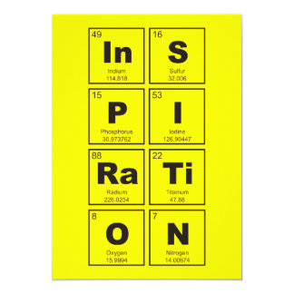 Chemical periodic table of elements: InSPIRaTiON 13 Cm X 18 Cm Invitation Card
