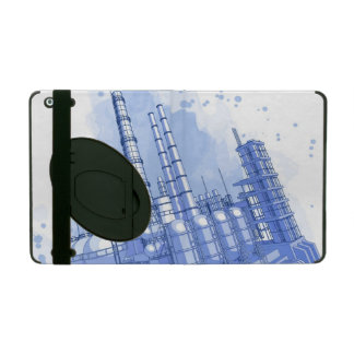 Chemical plant & watercolor background iPad folio case