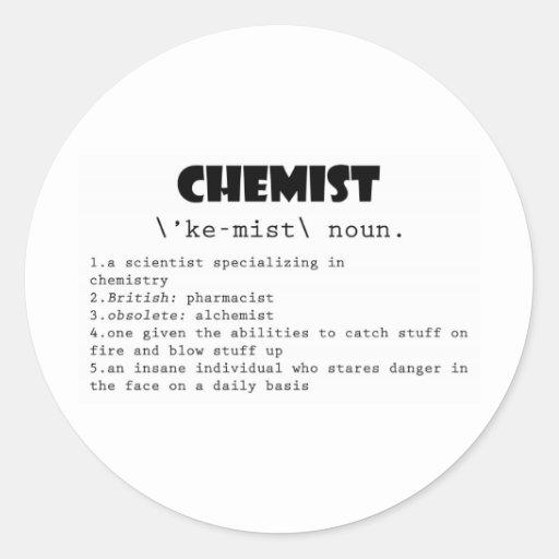Chemist Definition Round Sticker Zazzle
