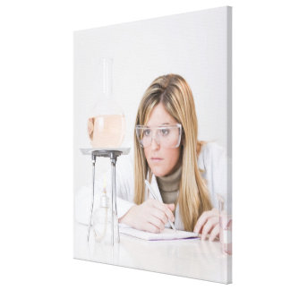 Chemist looking at Bunsen burner Stretched Canvas Print