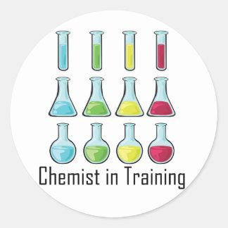 Chemist student chemistry kid round sticker