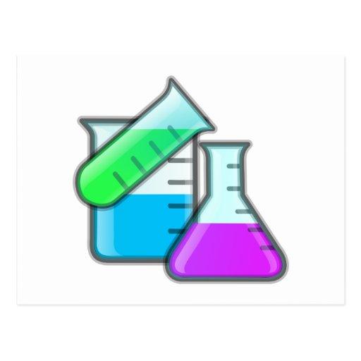 Chemistry bottles chemical flasks post card