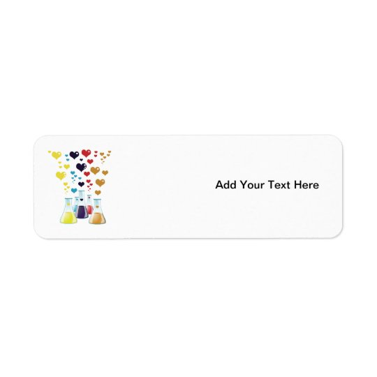 Chemistry Flask, Hearts - Red Blue Yellow Purple Return Address Label