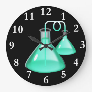 Chemistry Flasks Round Wall Clock