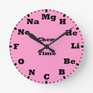 chemistry is pink round clock