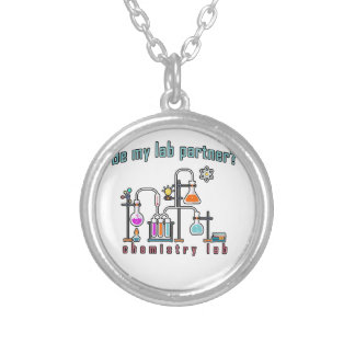 Chemistry lab silver plated necklace