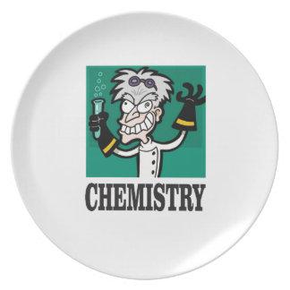 chemistry man in coat plate