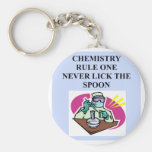 chemistry: never lick the spoon basic round button key ring