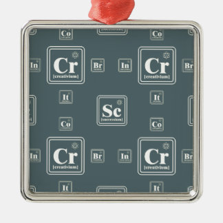 Chemistry of the business. Silver-Colored square decoration