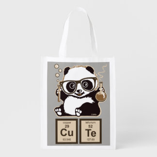 Chemistry panda discovered cute reusable grocery bag