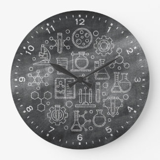Chemistry Science Chalkboard Clock