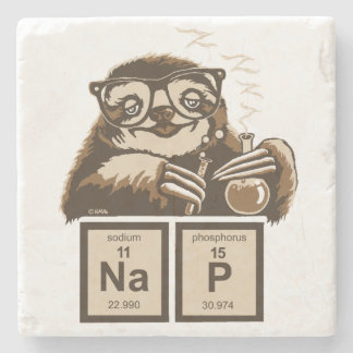Chemistry sloth discovered nap stone coaster