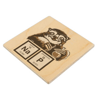 Chemistry sloth discovered nap wood coaster