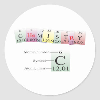 Chemistry Spelled with elements Round Sticker