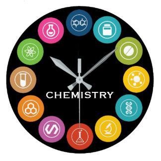 Chemistry Teacher Symbols Black Wallclocks