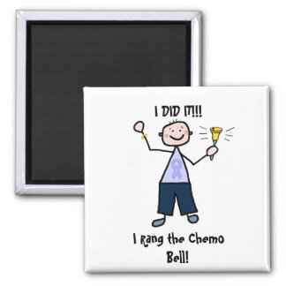 Chemo Bell Man - Periwinkle Ribbon Stomach Cancer Square Magnet