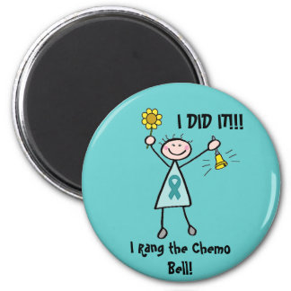 Chemo Bell - Ovarian Cancer Teal Ribbon 6 Cm Round Magnet