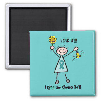Chemo Bell - Teal Ribbon Refrigerator Magnets