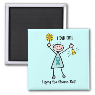 Chemo Bell - Teal Ribbon Square Magnet