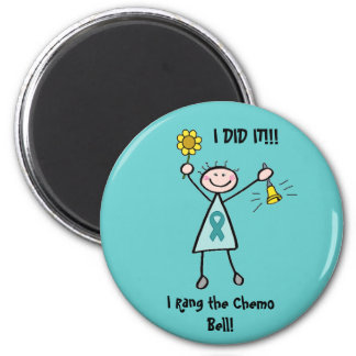 Chemo Bell - Uterine Cancer Teal Ribbon 6 Cm Round Magnet