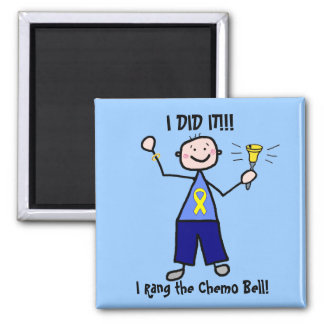 Chemo Bell - Yellow Ribbon Testicular Cancer Square Magnet