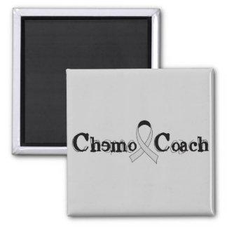 Chemo Coach - Grey Ribbon Brain Tumor / Cancer Square Magnet