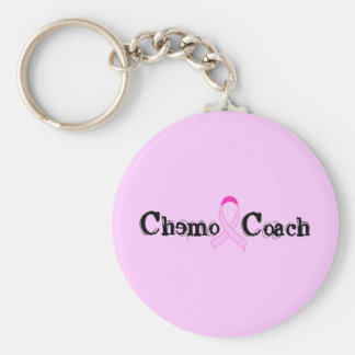 Chemo Coach - Pink Ribbon Breast Cancer Basic Round Button Key Ring