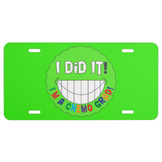 Chemo Grad I Did It Smiley Face - Lymphoma License Plate