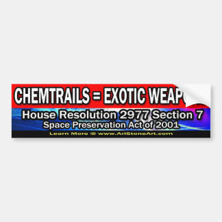 Chemtrails = Exotic Weapons Bumper Sticker
