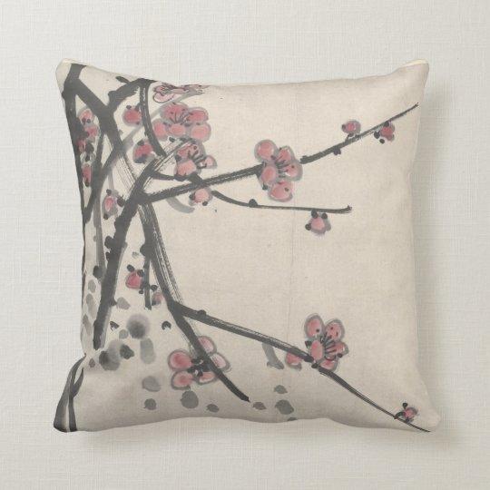 Chen Hengke Plum Blossoms Throw Pillow