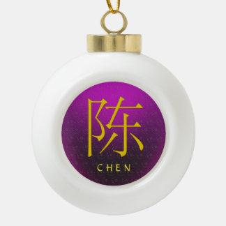 Chen Monogram Ceramic Ball Christmas Ornament