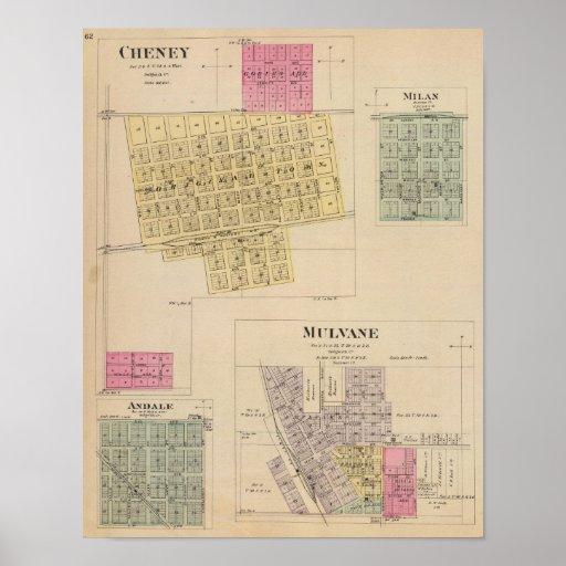 Cheney, Andale, Mulvane, and Milan, Kansas Poster