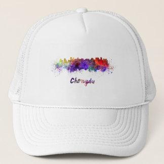 Chengdu skyline in watercolor trucker hat