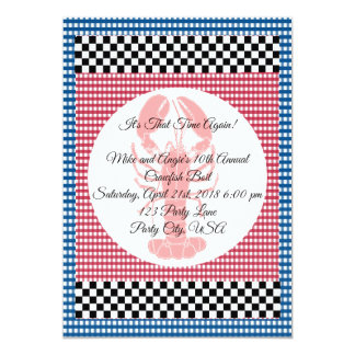 Chequerboard Blue and Red Gingham Crawfish Boil Card
