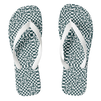 Chequered black and white flip flop thongs